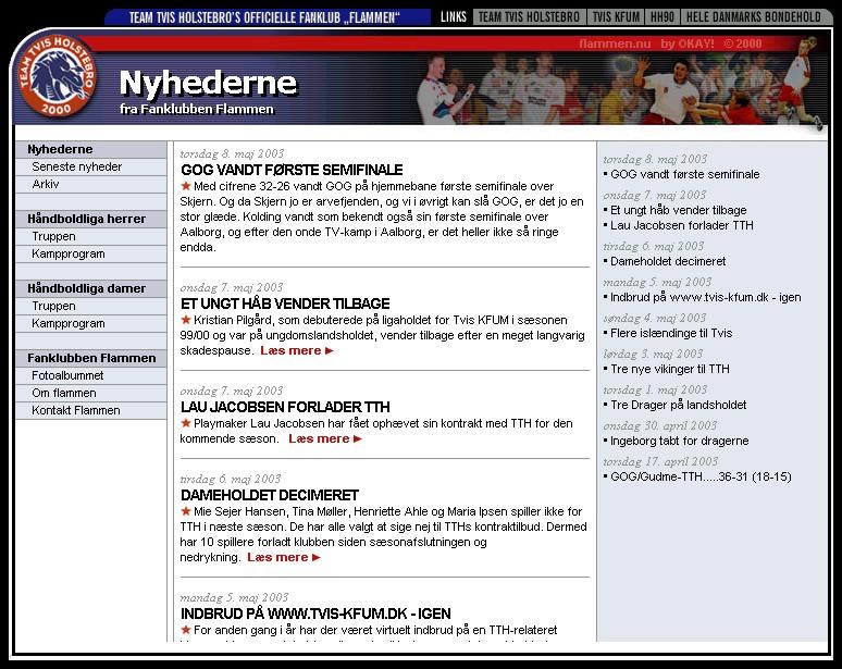 Første udgave af Flammens hjemmeside, designet af Tommy Kikkenborg og inspireret af datidens FCK-hjemmeside.